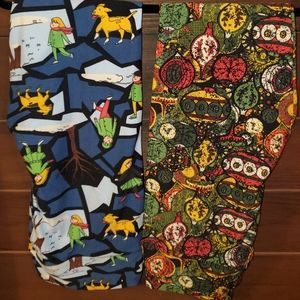 Lularoe christmas TC leggings- 2 pairs brand new